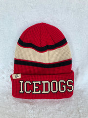 Zephyr Red, Black, Cream Stripe 'ICEDOGS' Toque