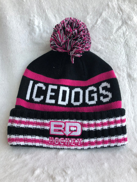 Bardown Black and Pink Pom Toque