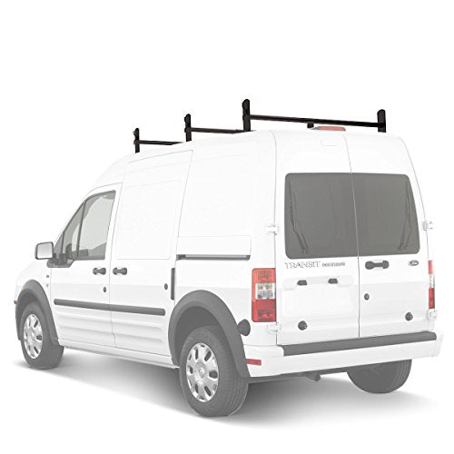 AA-Racks Model DX36 Compatible Ford Transit Connect 2008-13 Aluminum 3 Bar Utility Drilling Van Roof Ladder Rack System - Sandy Black - AA Products Inc