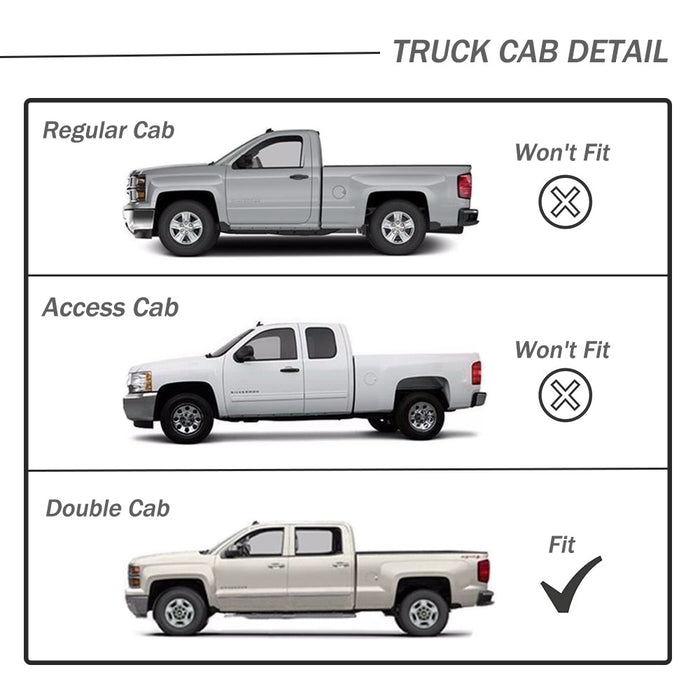 AA Products Circle Armor Kit for 2005-2018 Toyota Tacoma Double Cab/Crew Cab Side Step Rails Nerf Bars Running Boards (RB-TM-DC(05-18)-B2-TBLK) - AA Products Inc
