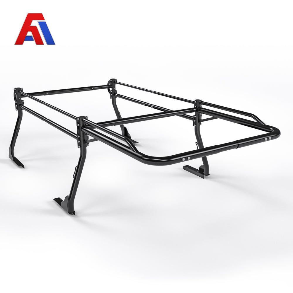 AA-Racks Model X31 Truck Bed Ladder Racks for Pickups with 30'' Side Bar Over Cab Ext. Lumber Utility Pipe Racks - Matte Black - AA Products Inc