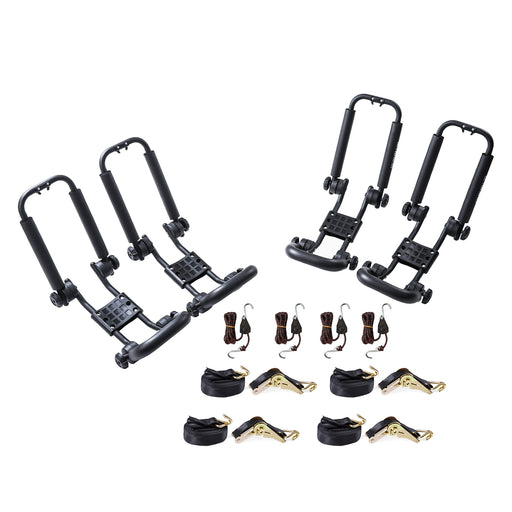 AA Racks Steel Double Folding Kayak Carrier Canoe J-Bar Roof Top Mount Racks for Car SUV Truck with Tie Down Straps (KX-200) - AA Products Inc