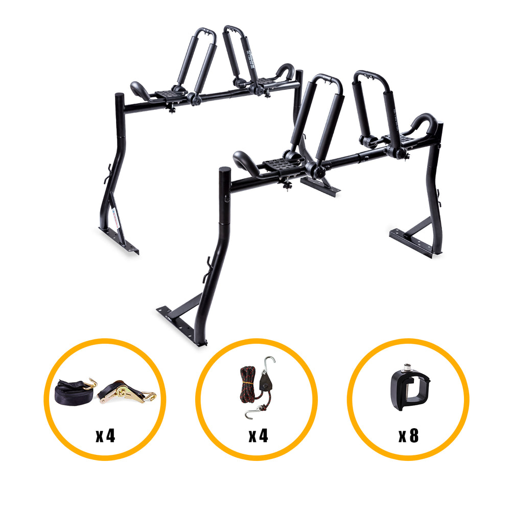 AA-Racks Pickup Truck Ladder Racks with Double Folding Kayak J-Racks, Mounting Clamps and Heavy Duty Ratchet Straps (KX-245/255) - AA Products Inc