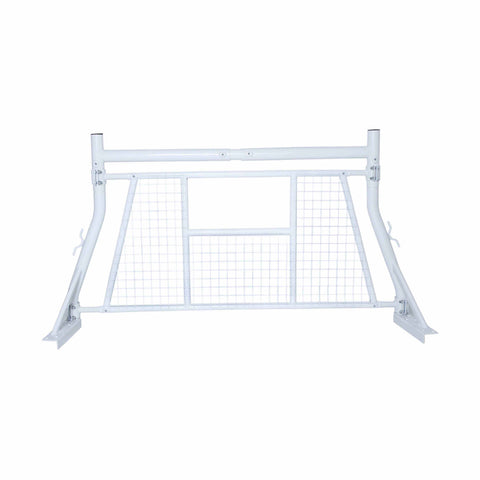 AA-Racks Adjustable Headache Rack Single Bar Pickup Truck Ladder Rack with Protective Screen Set White/ Black (X35-A-W)