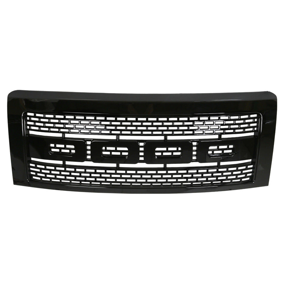 AA Products 2009-2014 Ford F150 Raptor Square Mesh Style Front Grill Upper Grille ABS Replacement Gloss Black (FG-F150(09-14)-03-BLK) - AA Products Inc