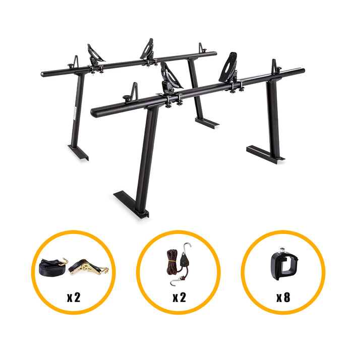 AA Products Aluminum Pickup Truck Ladder Racks with Mounting C-Clamp, Steel Saddle Kayak and Double Folding Kayak Racks (KX-4125/4155) - AA Products Inc