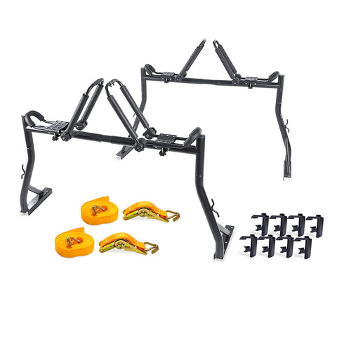 AA Racks Truck Rack with (8) Mounting C-Clamps and Folding Kayak Roof Racks w/Ratchet Tie Down Strap (Fits: Toyota Tacoma 2016-On) (KX-145/155-TA)