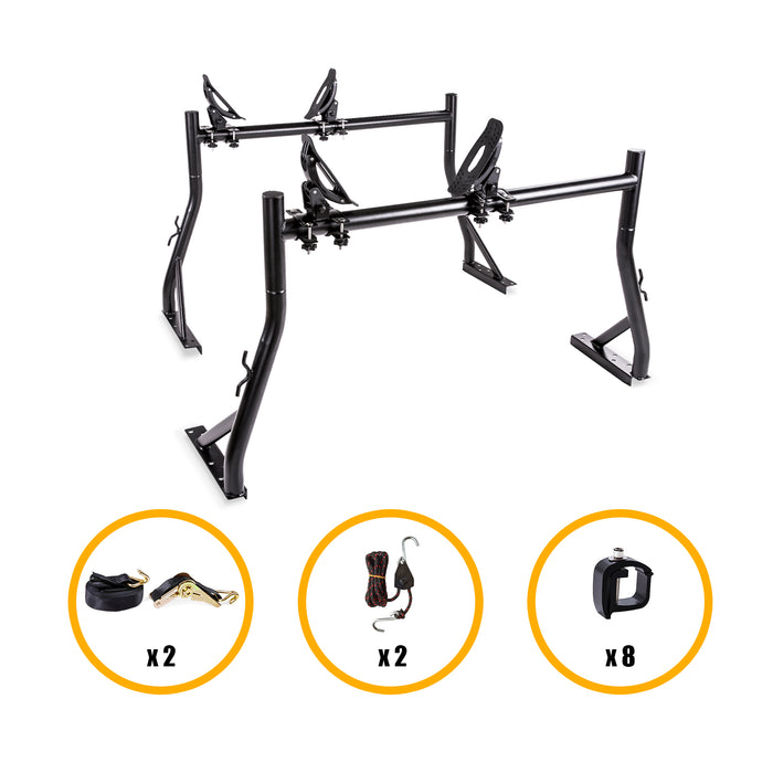 AA-Racks Pickup Truck Ladder Rack with Mounting Clamps and Saddle Kayak Double Folding Kayak Canoe Rack (KX-485/4115) - AA Products Inc