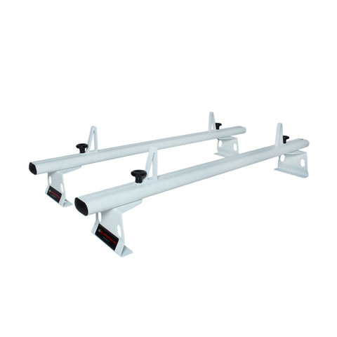 AA-Racks Model AX302 Aluminum 2 Bar  Van Roof Rack System With Ladder Stopper White for RAM ProMaster 2013-On /Transit 2015-On (AX302-72(2)-WHT)