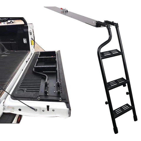 AA Products Pickup Truck Tailgate Step Ladder Fits 2014-2018 Toyota Tundra Black Steel Tailgate Easy Step Ladder Replacement (TSL-TD(14-18)-01-BLK) - AA Products Inc