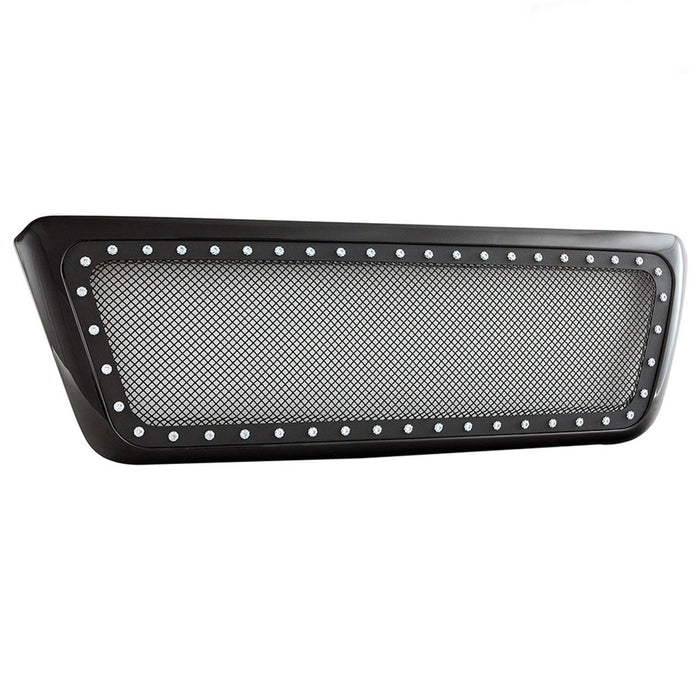 AA Products 2004-2008 Ford F150 Gloss Black Rivet Steel Wire Mesh Replacement Grille with Shell (FG-F150(04-08)-01-BLK) - AA Products Inc