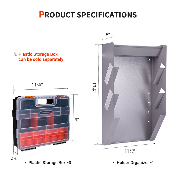 AA-Racks P-SH-Hanging Tote Kit for Van Shelving Storage, 3 Plastic Storage Box w/1 set Hanging Organizer Holder for Small Parts, Screws and Hardwares (P-SH-HTK) - AA Products Inc