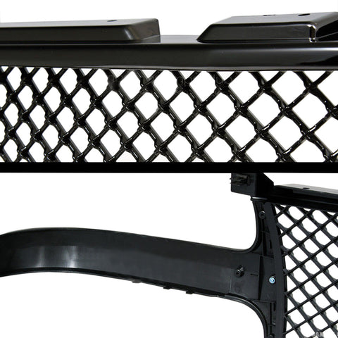 AA Products Front Grille Mesh Hood Bumper Grill Cover for 1999-2002 Chevy Silverado 1500 2500 / 2000-2006 Tahoe / Suburban (FG-CS(99-02)-01-BLK) - AA Products Inc