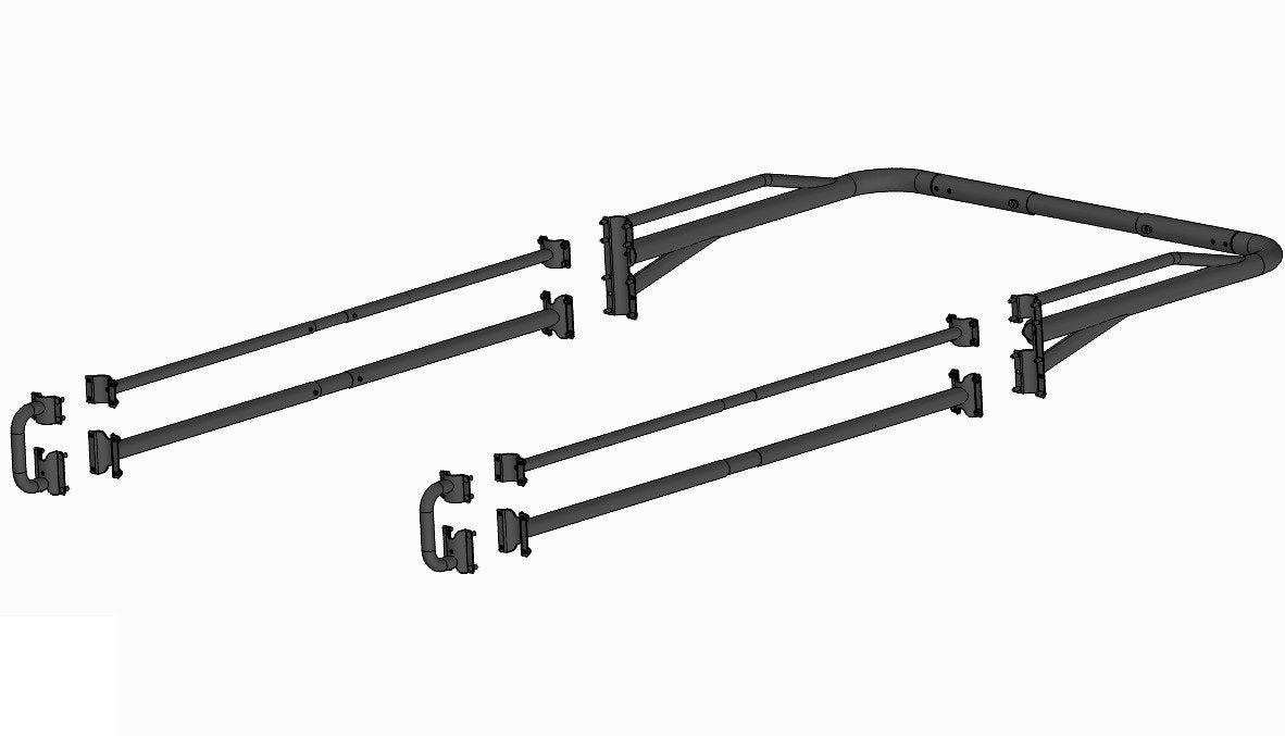 AA-Racks Adjustable Side bar with 30'' Short Over Cab. Extension for Basic 2 Bar Pickup Truck Rack - (P39-SC-BX2) - AA Products Inc
