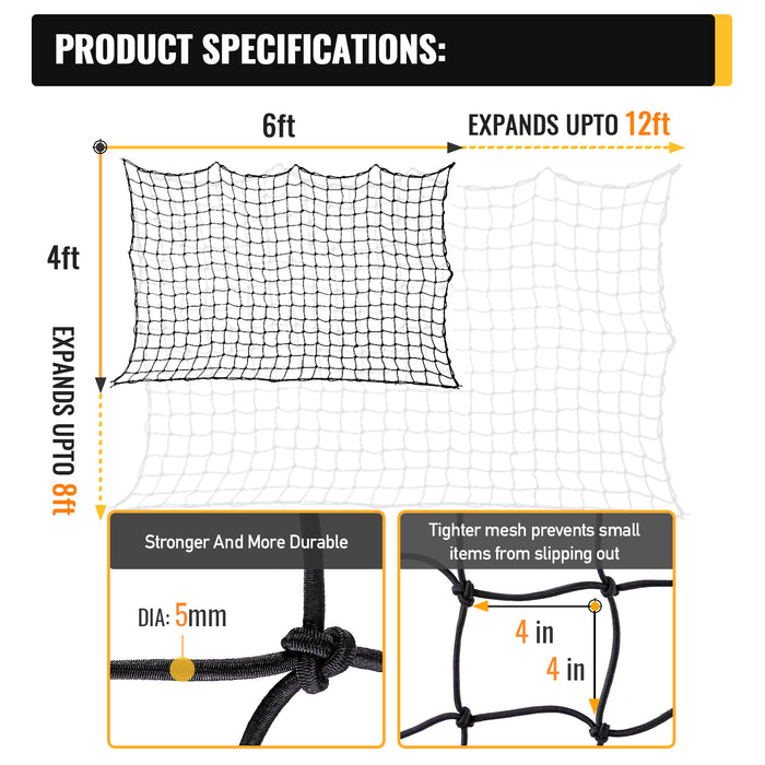 AA Products 4'x6' Bungee Cargo Net for Truck Bed Stretches to 8'x12' | No Gaps Securing Cargo Nets to Rooftop Carrier, Roof Rack, Cargo Hitch, SUV | 24 Pieces Universal Hooks (CN-4-6) - AA Products Inc