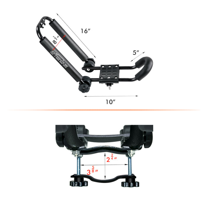 AA-Racks Aluminum Truck Rack with (8) Mounting C-Clamps and Steel Folding Kayak J-Racks w/ Ratchet Strap (Fits:Toyota Tacoma 2005-On) (KX-165/175-TA) - AA Products Inc