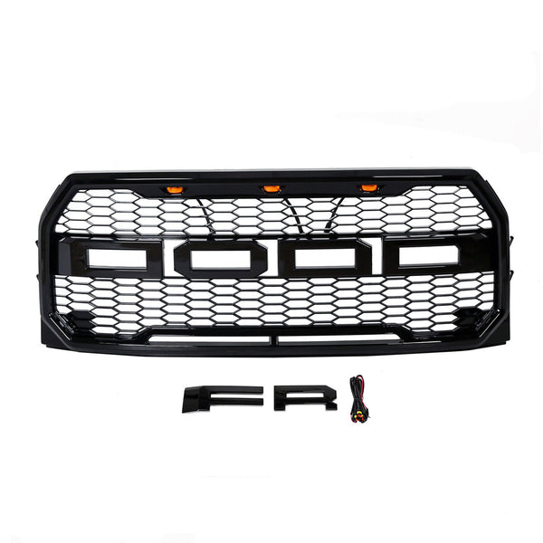 AA Products 2015-2017 Ford F150 Raptor-Style Front Bumper Grille Grill w/  Amber LED Lights (WITH letters F & R)  (FG-F150(15-17)-01) - AA Products Inc