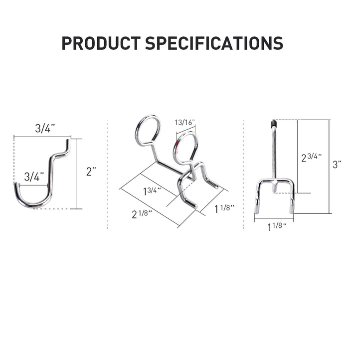 AA Products Pegboard Hooks Assortment w/ Curve Hooks, Double-Ring Tool Holders and Double-Straight Hook, Peg Locks for Organization, 15 Pcs (P-SH-Hooks) - AA Products Inc