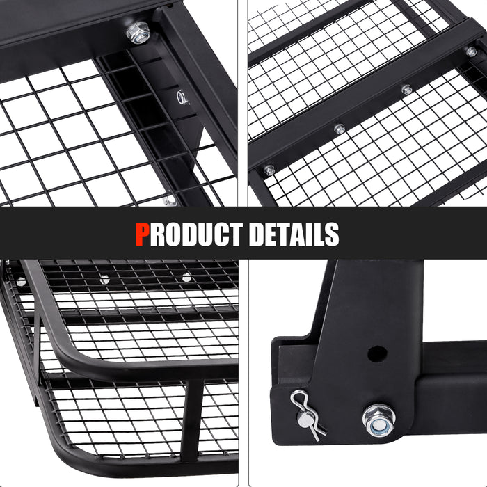 "AA Products Inc Hitch Mount Cargo Carrier with Cargo Net and Anti-Rattle Stabilizer 60"" x 21"" x 6"" Folding Cargo Basket 500 LB Fits 2"" Receiver for Car SUV Pickup (HCC60-01-TBLK) - AA Products Inc"