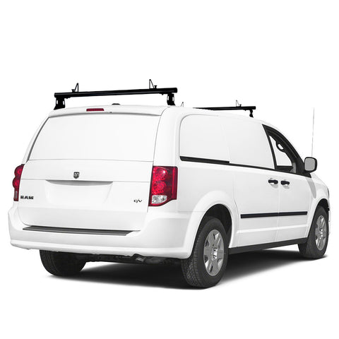 AA-Racks Model ADX32 Minivan Aluminum 2 Bar (50'') Universal Drilling Van Roof Rack with Ladder Stopper Sandy Black (ADX32-50-BLK)