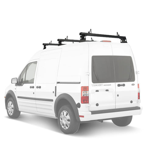 "AA-Racks Model AX302 Nissan NV200(2013-On) Aluminum 3 Bar (50"") Van Roof Rack System With Ladder Stopper Black (AX302-50(3)-BLK-NV)"