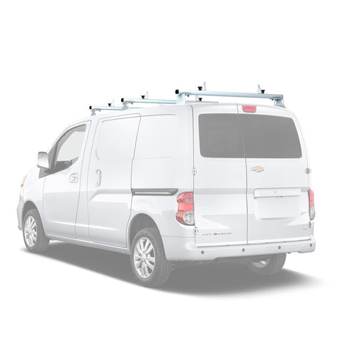 AA-Racks Aluminum Cargo Van Roof Rack with Load Stop Black/ White (Fits: Chevy City Express 2013-2017) (AX302-CH)