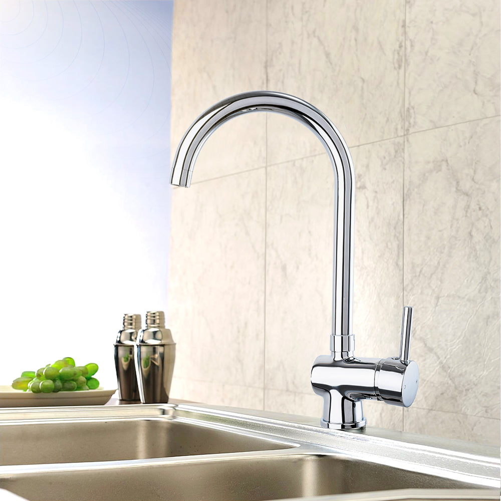 Aa Products High Arch Solid Brass Kitchen Sink Faucet 360 Degree Swivel Spout Mixer Tap Chrome Finish Aa Products Inc