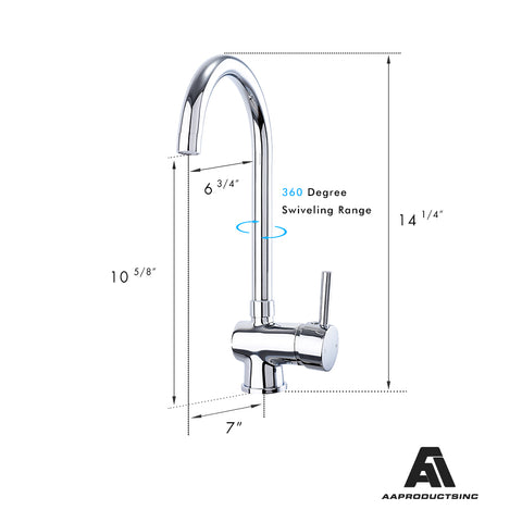 AA Products Single Handle Bathroom and Kitchen Sink Faucet Deck Mount Lavatory Faucet Brass (BM&KM)