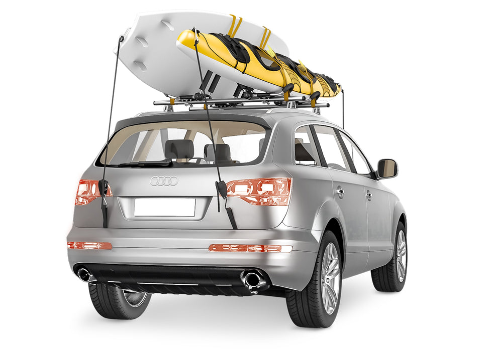 AA-Racks 2 Pair Stainless Steel J-Bar Rack Roof Top Mount with Ratchet Bow and Anchor Straps, Folding Carrier for Your Canoe, SUP and Kayaks on SUV Car Truck(KSX-125-BLK) - AA Products Inc