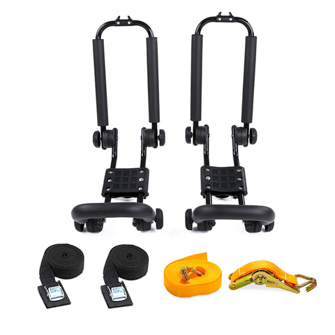 AA-Racks Truck Ladder Racks with Mounting Clamps and Double Folding Kayak J-Rack Ratchet Tie Down Straps (Fits:Toyota Tacoma 2016-On) (KX-245/255-TA)