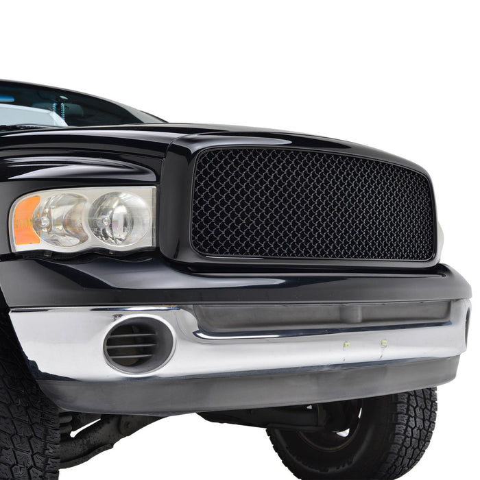 AA Products 2006-2008 Dodge Ram 1500 / 2007-2009 Dodge Ram 2500/3500 Mesh ABS Replacement Grille with Shell Gloss Black (FG-RAM(06-09)-02-BLK) - AA Products Inc