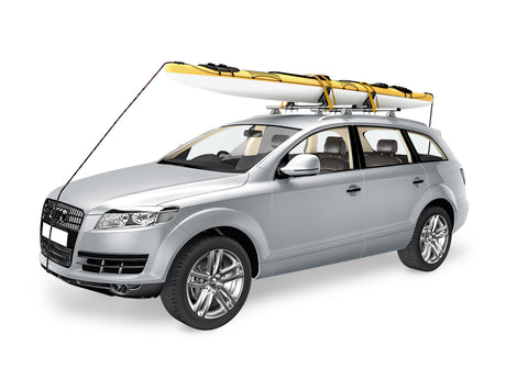 AA-Racks Steel Saddle Rack for Kayak Carrier Canoe Boat Paddle Board Surfboard Roof Top Mount on Car SUV Truck with Tie Down Straps (KX-405/415) - AA Products Inc