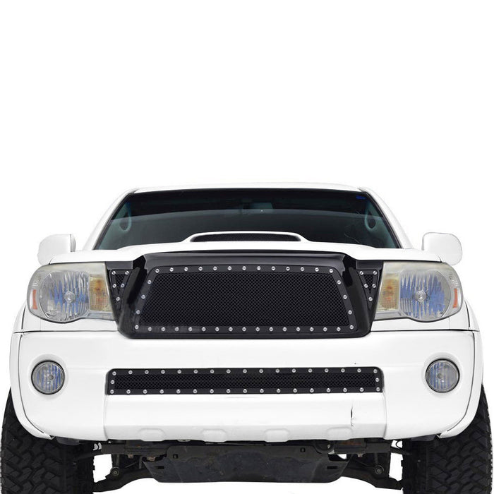 AA Products 2005-2011 Toyota Tacoma Black Rivet Steel Wire Mesh Replacement Grille with Shell (FG-TM(05-11)-01-BLK) - AA Products Inc