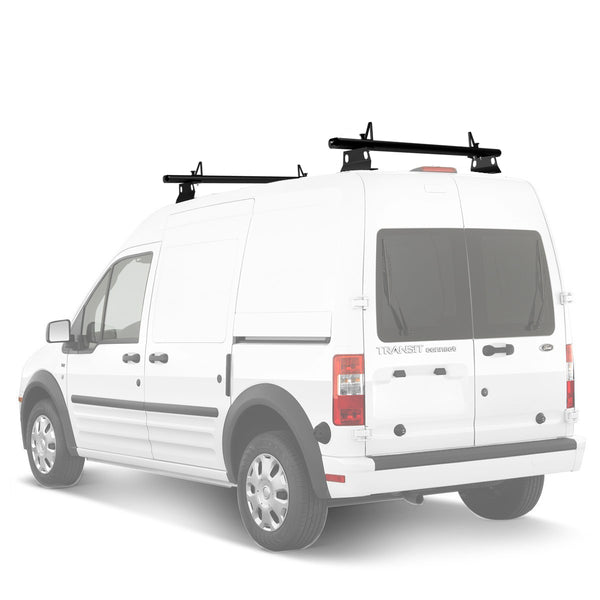 "AA-Racks Model AX302 Nissan NV200(2013-On) Aluminum 2 Bar (60"") Van Roof Rack System With Ladder Stopper Black (AX302-60(2)-BLK-NV)"