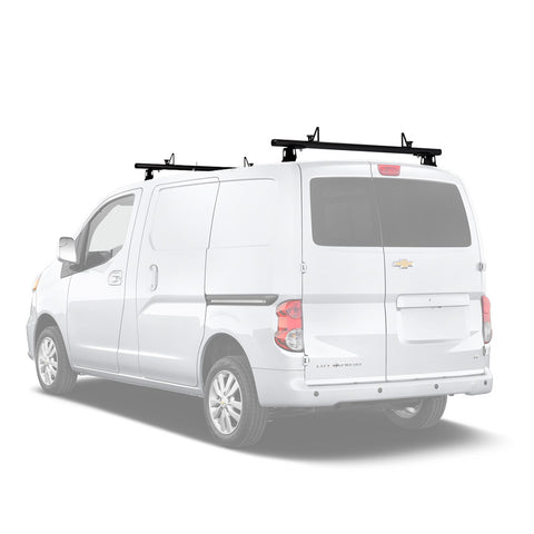 AA-Racks Model ADX32 Minivan Aluminum 2 Bar (60'') Universal Drilling Van Roof Rack with Ladder Stopper Gloss White (ADX32-60-WHT)