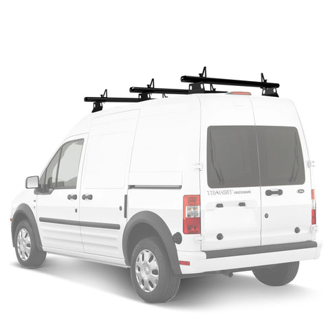 "AA-Racks Model AX302 Nissan NV200(2013-On) Aluminum 3 Bar (60"") Van Roof Rack System With Ladder Stopper Black (AX302-60(3)-BLK-NV)"