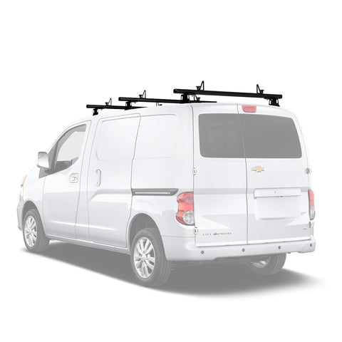 AA-Racks Model ADX32 Minivan Aluminum 3 Bar (60'') Universal Drilling Van Roof Rack with Ladder Stopper Sandy Black (ADX32-60(3)-BLK)