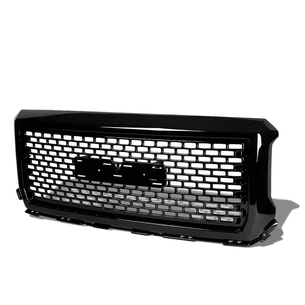 AA Products 2014-2015 GMC Sierra 1500 Gloss Black Square Mesh Front Hood Bumper Grill Grille ABS Replacement (FG-GS(14-15)-01-BLK) - AA Products Inc