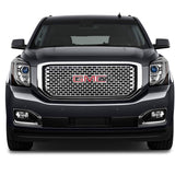 AA Products 2015-2018 GMC Yukon / XL / Denali Square Mesh Front Hood Bumper Grill Grille w/  Emblem Base Gloss Black (FG-GY(15-18)-01-BLK) - AA Products Inc