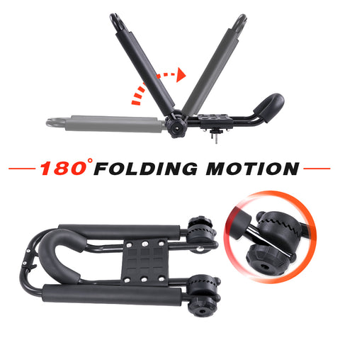 AA Racks Truck Rack with (8) Mounting C-Clamps and Folding Kayak Roof Racks w/Ratchet Tie Down Strap (Fits: Toyota Tacoma 2005-On) (KX-145/155-TA)