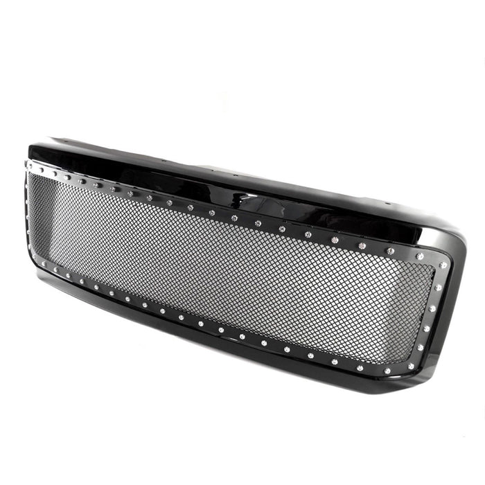 AA Products 1999-2004 Ford Super Duty F250 F350 F450 F550 Black Rivet Steel Wire Mesh Replacement Grille with Shell (FG-F250(99-04)-01-BLK) - AA Products Inc