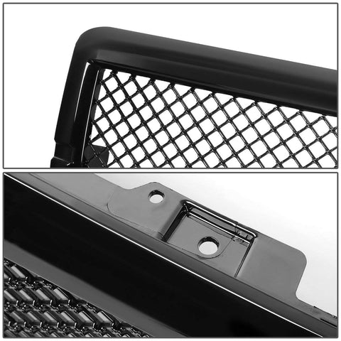 AA Products 2014-2015 Chevy Silverado 1500 Gloss Black Finished Front Grille Mesh Hood Bumper Grill Cover (FG-CS1500(14-15)-01-BLK)