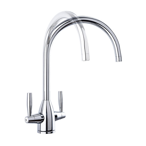 AA Products High-arch Solid Brass Kitchen Sink Faucet 360 Degree Swivel Spout Mixer Tap Chrome Finish - AA Products Inc