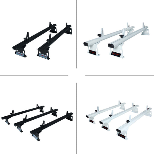 AA-Racks Fullsize Cargo Van Ladder Rack Aluminum 72'' Universal Drilling Van Roof Rack with Load Stops - Black/ White (ADX32-72) - AA Products Inc