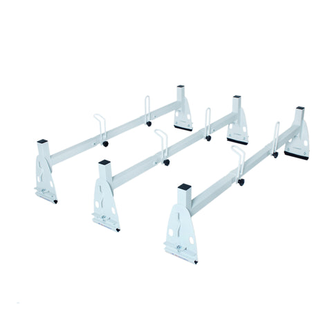 AA-Racks Model X317 HighTop Square Van ladder Rack Rain-Gutter High Roof Rack 2 Bar Set - White (X217-T-WHT)