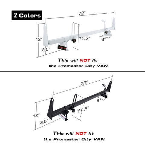 AA-Racks Van Ladder Roof Racks 72'' Cross Bar Heavy Duty Steel Fits for RAM ProMaster 2013-On (X202-PR)