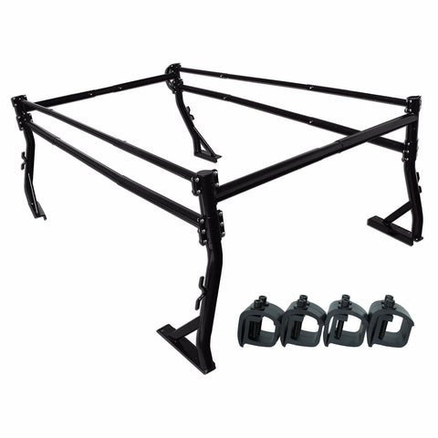 AA-Racks Pickup Truck Ladder Rack Side Bar with Over Cab Ext. (8) Mounting C Clamps (X39-8Clamp)