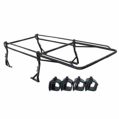 AA-Racks Pickup Truck Ladder Rack Side Bar with Over Cab Ext. (8) Mounting C Clamps (X39-8Clamp) - AA Products Inc