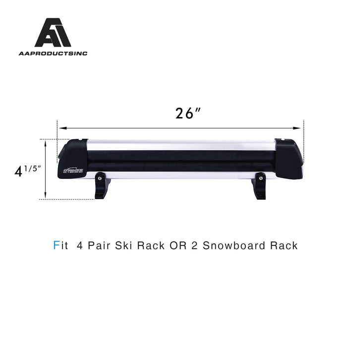 AA Products 26'' Aluminum Universal Ski Roof Rack Fits 4 Pairs Skis or 2 Snowboards, Ski Roof Carrier Fit Most Vehicles Equipped Cross Bars - AA Products Inc