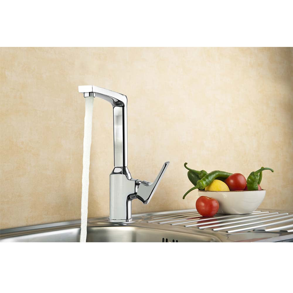 AA Products 90 Degree Single Handle 1 Hole Kitchen Sink Faucets Spout Mixer  Tap Water Kitchen Faucet Brass, Chrome Finish (KM)